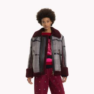 Tommy Hilfiger Checked Shearling Aviator Jacket