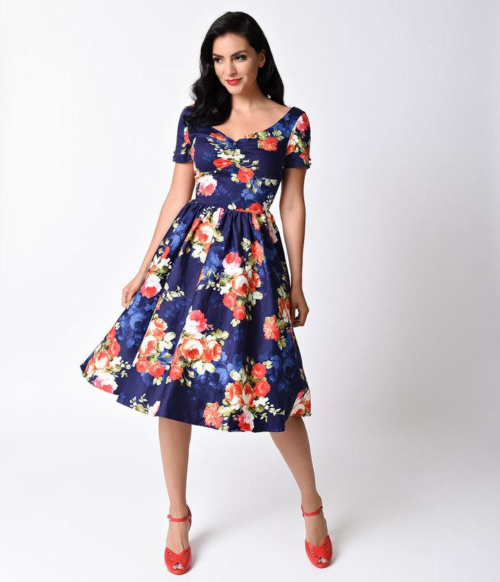 Unique Vintage 1950s Navy & Floral Bouquet Short Sleeve Draper Swing Dress