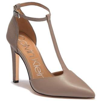 Calvin Klein Brandy T-Strap Leather Lizard Embossed Stiletto