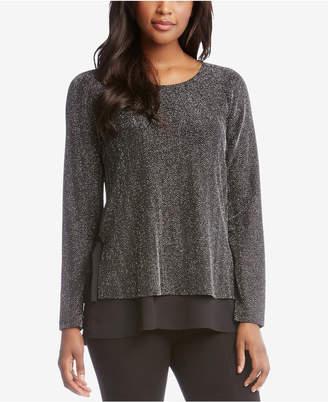 Karen Kane Metallic Layered-Look Sweater