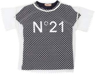 N°21 Cotton Jersey T-Shirt & Fishnet Top