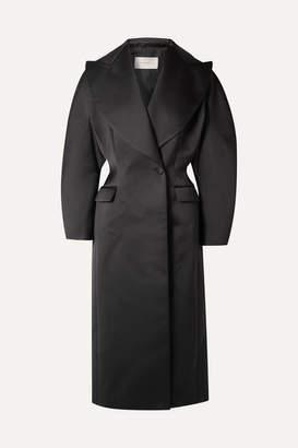 Christopher Kane Double-breasted Duchesse-satin Coat - Black