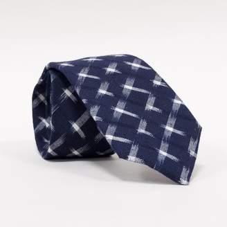Blade + Blue DOORBUSTER DAY TIE Navy Blue Ikat Print Neck Tie