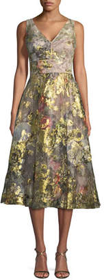 Rickie Freeman For Teri Jon Floral V-Neck A-Line Midi Cocktail Dress