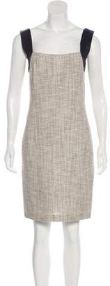 L'Agence Leather-Trimmed Tweed Dress