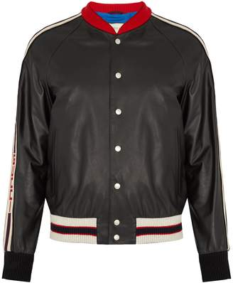 Gucci Hollywood-appliqué leather bomber jacket