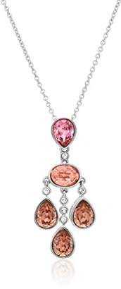 Swarovski Platinum Plated Sterling Silver Crystal Rose Peach Pendant Necklace