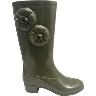 Chanel Khaki Rubber Boots