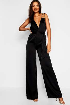 boohoo Tall Strap Detail Satin Jumpsuit