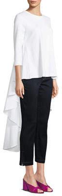Gracia 3/4-Sleeve High-Low Dress-Back Crewneck Tee