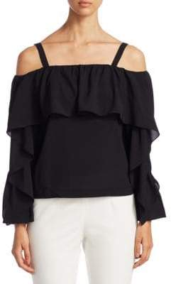 Scripted Ruffle Cold-Shoulder Blouse