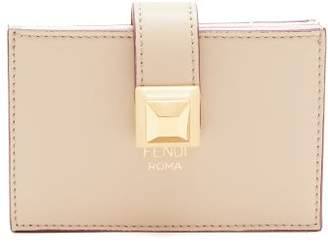 Fendi Stud Embellished Expandable Leather Cardholder - Womens - Beige Multi