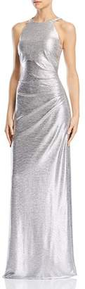 Avery G Embellished Metallic Gown