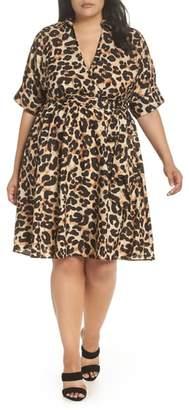 Eliza J Leopard Print Shirtdress