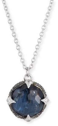 Armenta New World Round Blue Pietersite Pendant Necklace with Diamonds