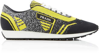Prada Embroidered Stretch-Knit Sneakers