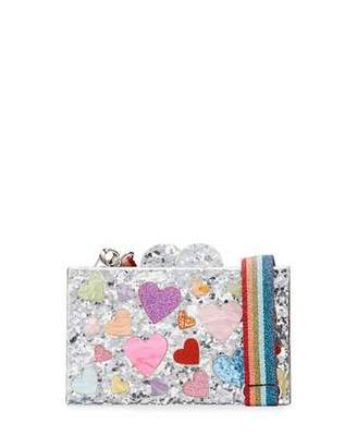 Bari Lynn Girl's Scattered Rainbow Hearts Acrylic Clutch Box Bag w/ Metallic Web Strap