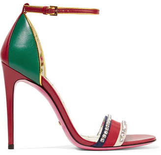 Gucci Ilse Crystal-embellished Paneled Leather Sandals - Red