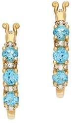 Lord & Taylor 14K Yellow Gold, Diamond and Blue Topaz Hoop Earrings