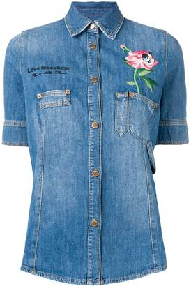 Love Moschino floral embroidered denim shirt