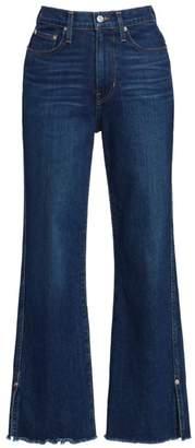 Proenza Schouler Pswl High-Rise Cropped Distressed Hem Jeans