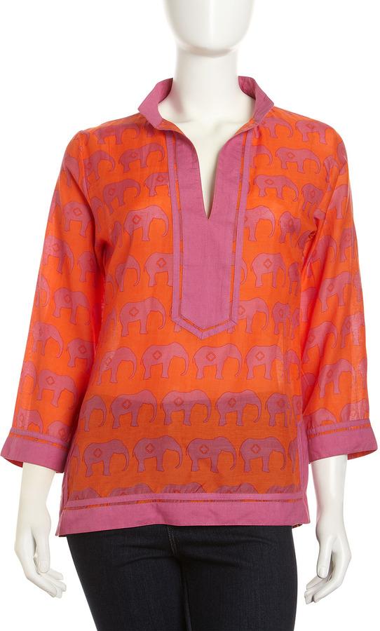 Sheridan French Calypso Elephant-Print Tunic, Pink