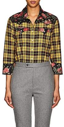 R 13 Women's Cowboy Plaid & Floral Cotton Shirt - Yellow
