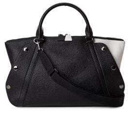 Akris Aimee Bicolor Small Leather Satchel