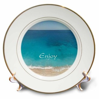 3dRose Print of Beautiful Beach And Ocean With Word Enjoy - Porcelain Plate, 8-inch