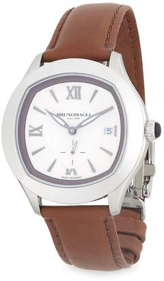 Bruno Magli Men's Stainless Steel Leather Strap Watch