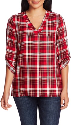 Chaus Plaid V-Neck Blouse