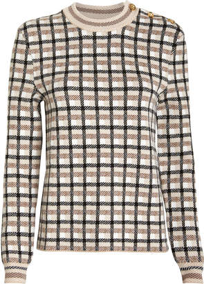 Paco Rabanne Wool Checked Crewneck Sweater