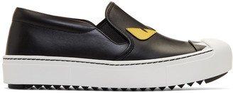 Fendi Black 'Bag Bugs' Slip-On Sneakers $695 thestylecure.com