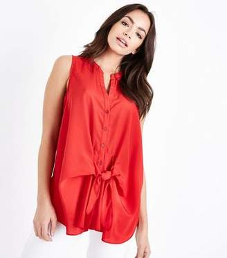 New Look Red Tie Front Sleeveless Shirt