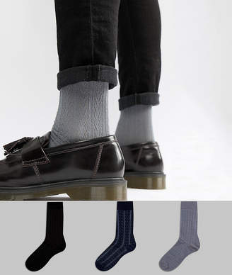 Asos Socks In Gift Box In Cable Knit With Stripe Cable Detail 3 Pack