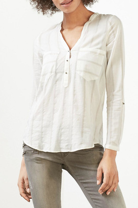 Esprit Textured Striped Blouse $76 thestylecure.com