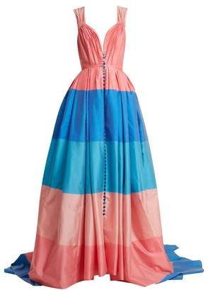 Carolina Herrera Pleated Striped Gown - Womens - Blue Multi