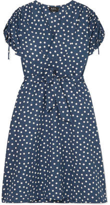 A.P.C. Clare Belted Polka-dot Cotton And Linen-blend Dress - Blue