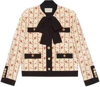 Gucci Silk marocain jacket with rose print