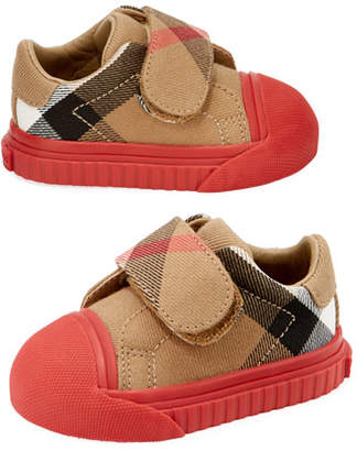 Burberry Beech Check Sneaker, Beige/Red, Infant/Toddler Sizes 3M-5T