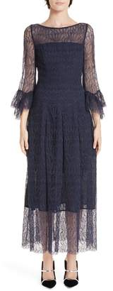 Talbot Runhof Allium Lace Bell Sleeve Tea Length Dress