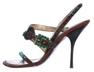 Cesare Paciotti Suede Embellished Sandals