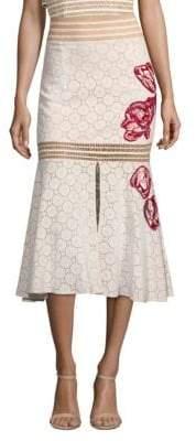 PatBO Eyelet Midi Skirt