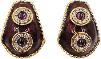 One Kings Lane Vintage Yosca Enameled Cabochon Earrings - Carrie's Couture