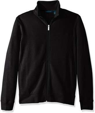 Perry Ellis Men's Cotton Blend Full Zip Texture Knit Jacket
