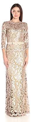 Tadashi Shoji Women's Sequin Embroidered Gown with 3/4 Sleeve and Belt $366.71 thestylecure.com