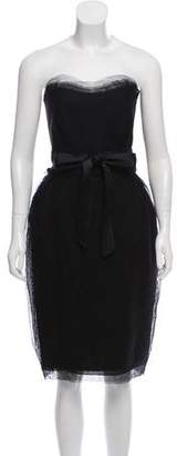 Lanvin Strapless Tulle-Accented Dress