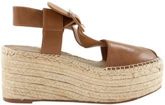 Celine Camel Leather Espadrilles