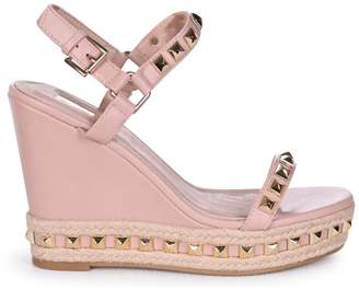 3833496d3f39 Madonna Nude Linzi MADONNA - Nude Wedge With Studded Detail Rope Trim