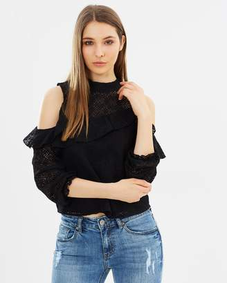 DECJUBA Elyse Lace Cold Shoulder Top